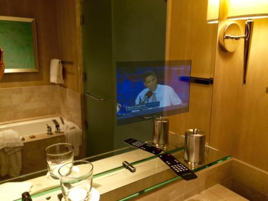 four seasons baltimore bathroom tv embedded in the mirror