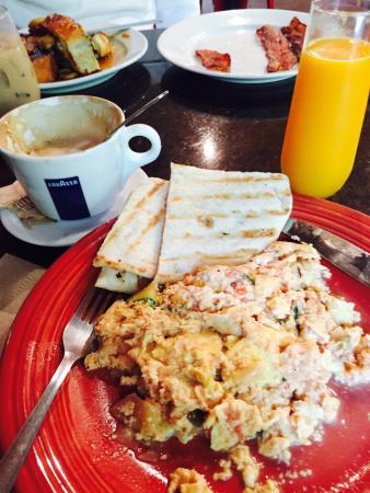 Tasi: Breakfast - Greek scramble Egg, Fresh OJ & A Dry Capuchins