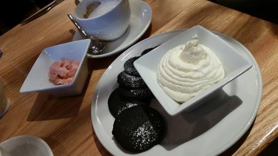 Alta Strada: Cucumber raspberry sorbet + chocolate shortbread with marscapone = Heaven