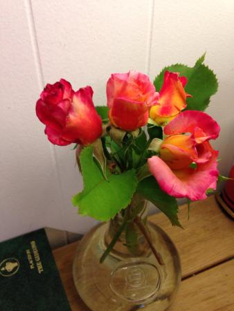 Totem Trail Motel : We had fresh rosebuds in our room, table service complete with candle and matches, wine and tea