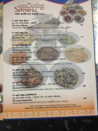 Manel Lanka: The incredible value set menus. These prices (in Baht) are for two people.