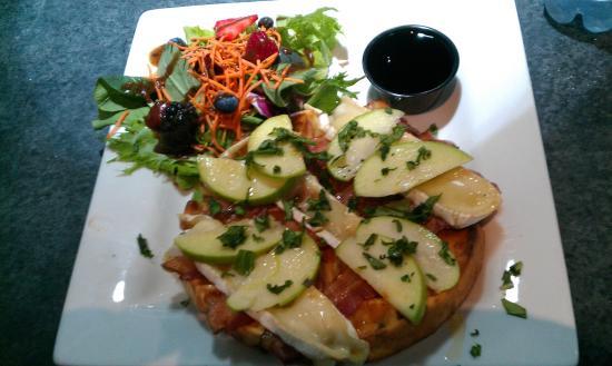 West Coast Waffles: The Johnny Mac (Brie, bacon & apple) & great salad