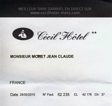 Citotel Cecil Hotel : facture