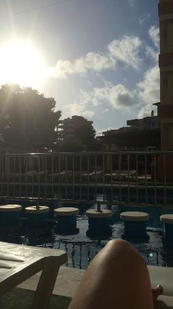 Apartments Arlanza: View from the pool at around 7pm.