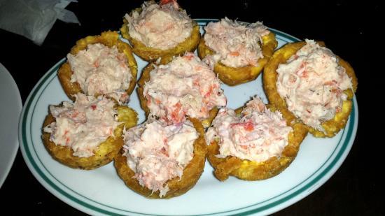 Yarisnori: Patacones (Kochbananen) gefüllt mit Schrimps