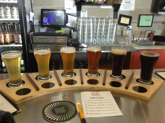 Right Brain Brewery: A typical flight; you choose your beer, but upcharges for many of them