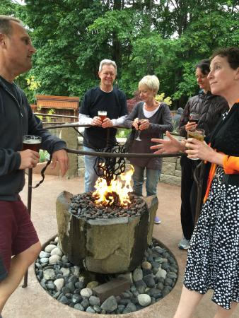 Fire, water and sampling the fine ales and wine at Zog's Beer Garden on Fox Island.