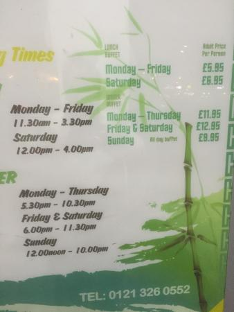 The Real China: Note telling us all cash only and open hours with prices.