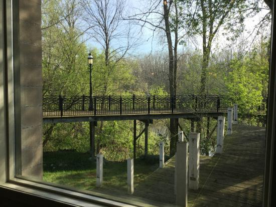 Mug Shots Coffeehouse : Looking out at the Kalamazoo River and the planned outdoor space.