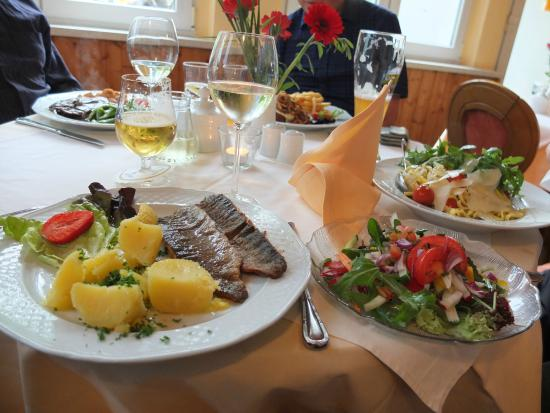 Gohrisch, Alemania: Rainbow trout, parsley potatoes and salad