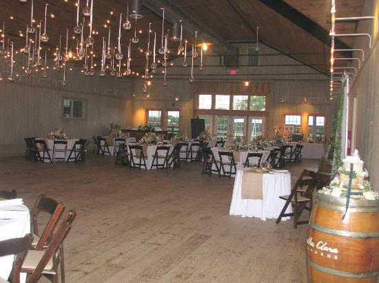 Martha Clara Vineyards: Inside the barn set up for wedding
