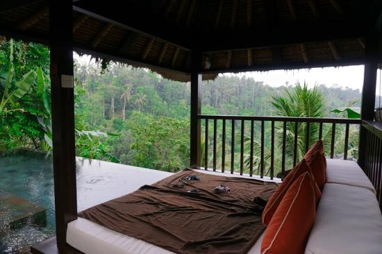 Payangan, Indonesien: the lounge by the private infinity pool in our room (super comfy!)