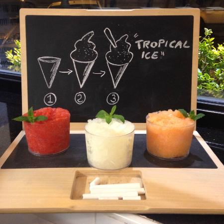 Tropical Ice Gelateria: Cremolati with fresh fruit of strawberry, lemon and melon