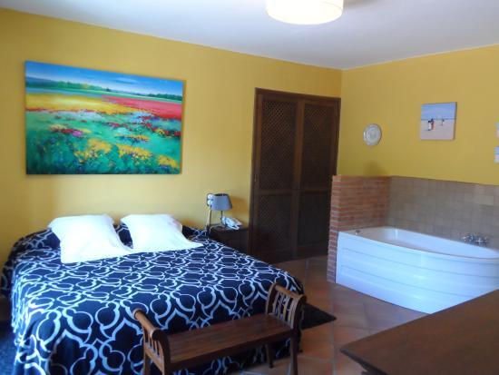 Hotel Mas Vilalonga Petit: La habitacion muy grande con hidromasaje