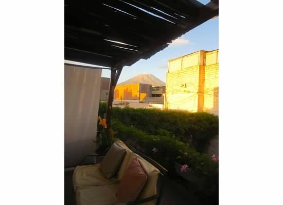 Hostal Solar: View of El Misti from the courtyard