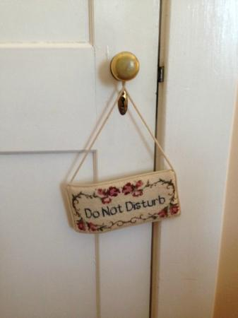 Burke Manor Inn: Room door sign