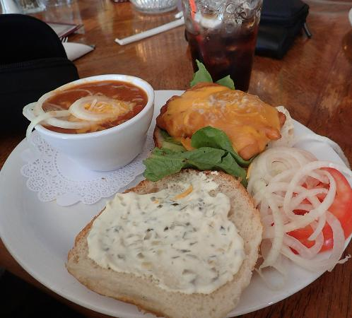 A tasty and generously proportioned batter-dipped fish sandwich and cup of chili at Summer Lake