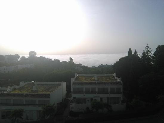Miraflores Resort: View from my balcony on foggy morning