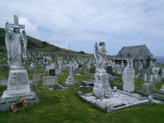 St. Tudno's Church: Winged gravestones in St Tudno's graveyard