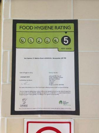 Food Hygiene Rating Picture Of Raj Express Liverpool