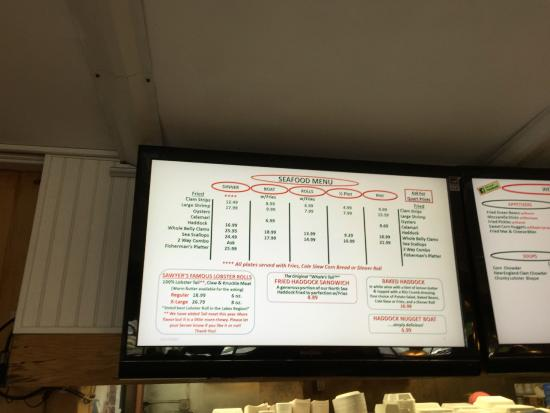 Sawyers: Menu