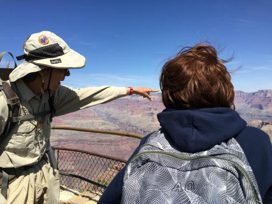 Grand Canyon Association: Slim pointing out the features of the Canyon