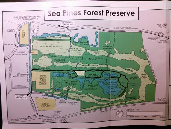 Sea Pines Forest Preserve: Map of the preserve