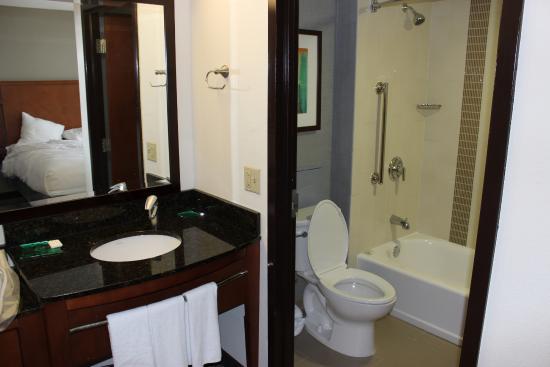 Hyatt Place Charlotte/Arrowood: Modest bathroom