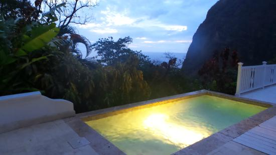 Sugar Beach, A Viceroy Resort: Our plunge pool at dusk - the Petit Piton is to the right.