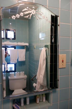 Happy Hollow Motel: Beautiful mirror reflects tile and glass block in bathroom