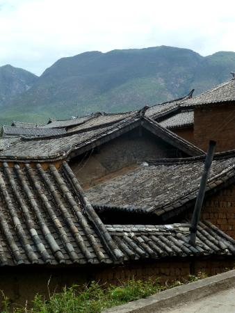Yunnan Shaxi Ancient Town: a view of the mountains from the town