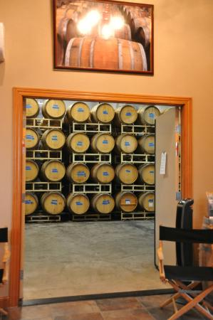 Long Creek Winery: View of the barrel room