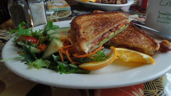 Crissy's Breakfast & Coffee Bar: Havarti, Bacon, Tomato and Avocado Grilled Cheese special