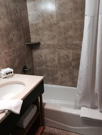 Hotel Mulberry: Shower/tub and sink area