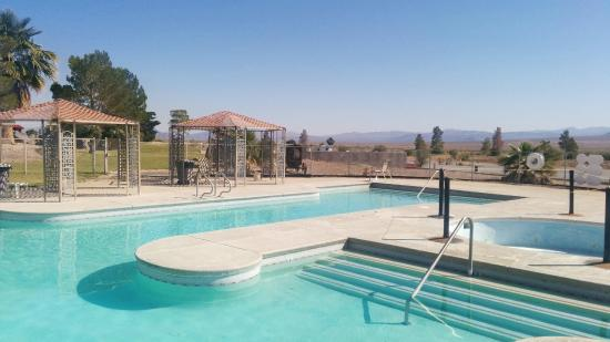 Amargosa Valley, NV: The pool with desert view.