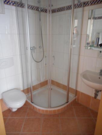 Salle de bain avec sanitaire, douche, lavabo, parfait. - Bild von ...