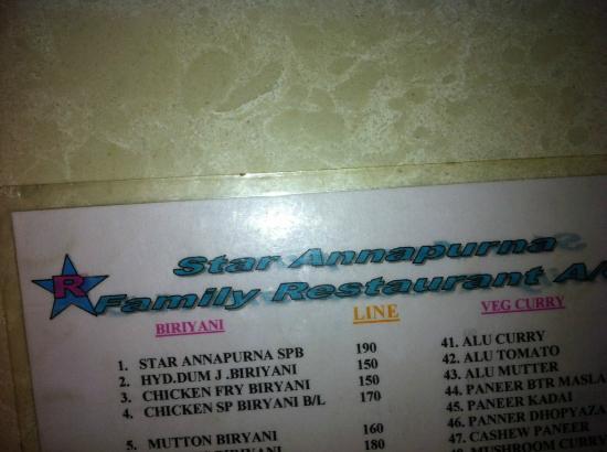 Star Annapurna Restaurant: Menu card