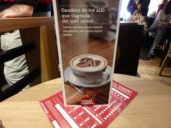 Table Ads Picture Of Costa Coffee Barcelona TripAdvisor - Costa coffee table