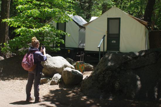 The pool picture of half dome village yosemite for Half dome tent cabins