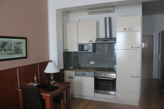 Hotel Verdi : Küchenzeile im Zimmer