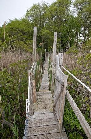 East Sandwich, MA: suspension bridge over the marsh