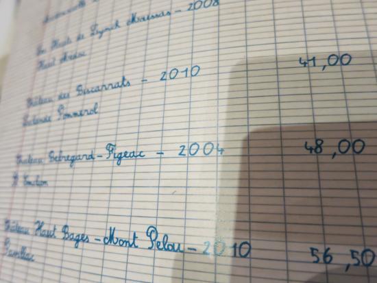 Bistro Les Canailles: Wine list