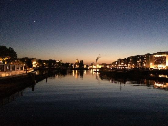 The view of amsterdam , mid evening from botel zebra