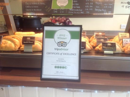 Tin Pot Pasty Co: Certificate of excellence awarded to us , how very proud we are