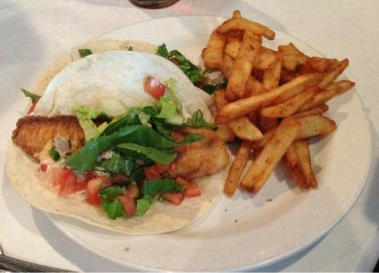Bricks Cafe: (Spicy) Fish tacos & battered (amazing) fries.