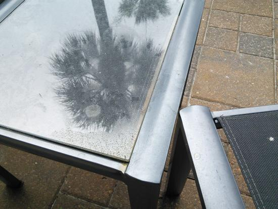 Beach House, A Holiday Inn Resort: Gooey table on our terrace, stayed like this all week