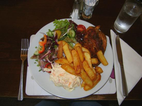 Queen Victoria Inn: My meal 1 (cajun chicken, chips, coleslaw and salad £9.95)