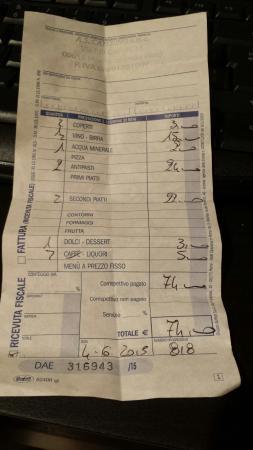 Monterotondo, อิตาลี: Antipasto+secondo+vino+dolce e amaro=74 euro