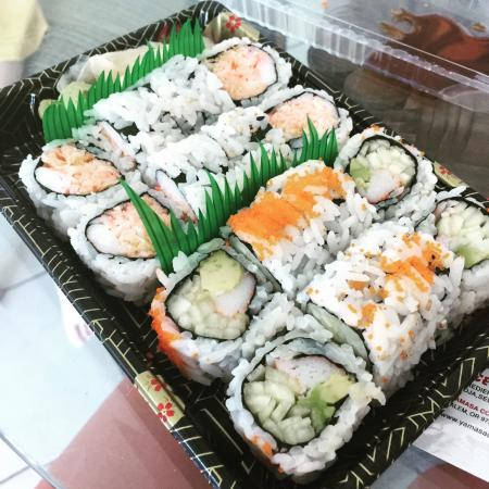 Fancy Sushi: California and Tokyo rolls for carry out.