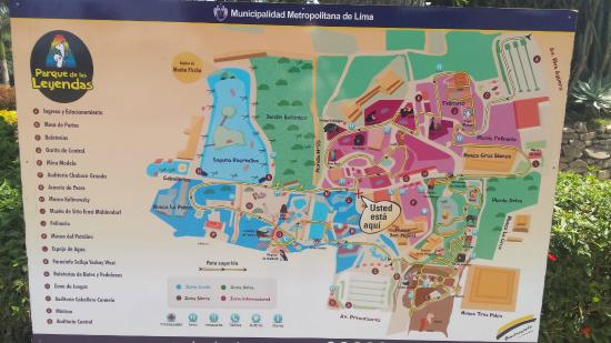 Map of zoo Picture of Parque de las Leyendas Zoo Lima TripAdvisor